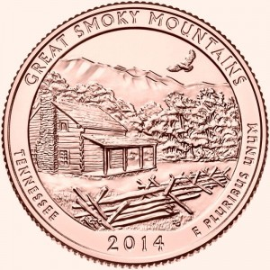 USA 25 c Park narodowy Great Smoky Mountains 2014  nr 21  24K Au