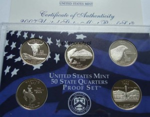 "USA Proof set 5 x 25c Stany 2007 ""S"""