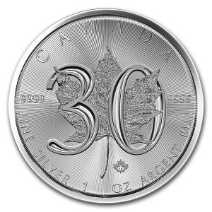 Kanada 5$ Maple Leaf 30 rocznica 1 OZ Ag.999 2018