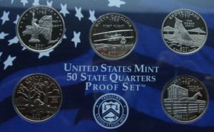 "USA Proof set 5 x 25c Stany 2001 ""S"""